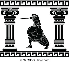 krigare, svart, kolonner