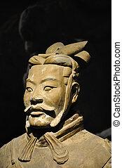 krigare, terrakotta, närbild, kinesisk