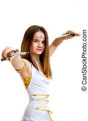 kriger, kvinde, sværd, hende, isoleret, unge, baggrund, holde, hvid, hånd