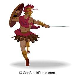 kriger, skjold, panser, vrede, hoplite, sværd, holde, spartan
