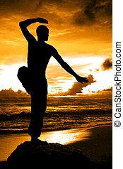 krigs artist, silhuett, med, apelsin, solnedgång
