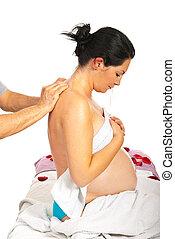 krijgen, achtermassage, zwangere