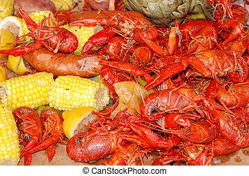 krijgen, dof, selectief, gereed, crayfish, koken, cookout