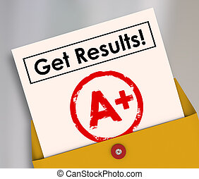 krijgen, resultaten, rapportkaart, student, brievenrang, een +
