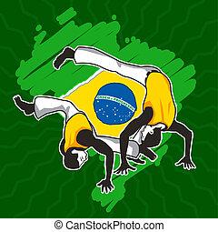 krijgshaftig, capoeira, kunst, braziliaans