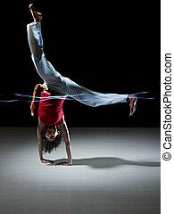 krijgshaftig, capoeira, vrouw, kunst, spaans