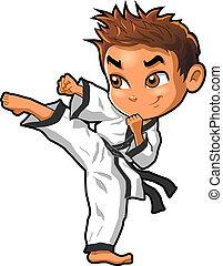 krijgshaftig, clipart, vector, kwon, dojo, kunsten, spotprent, tae, jongen, schop, karate
