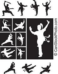 krijgshaftig, schaduw, -, kungfu, silhouette