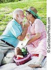 krijgt, paar, romantische, senior