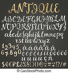 krijt, alfabet, latijn, draaiboek