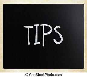 """krijt, bord, witte , """"tips"""", met de hand geschreven"""