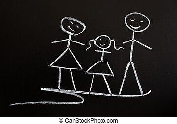krijt, getrokken, gezin