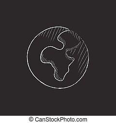 krijt, getrokken, icon., globe.