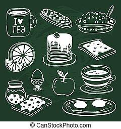 krijt, getrokken, ontbijt, set, pictogram