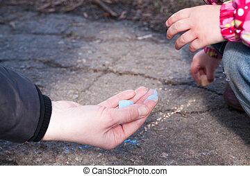 krijt, handen, kind