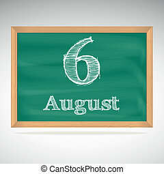 krijt, inscriptie, 6, augustus, bord
