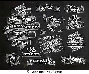 krijt, lettering, linten