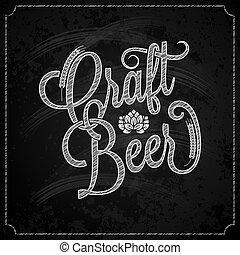 krijt, ouderwetse , bier, achtergrond, lettering