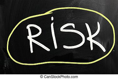 """krijt, """"risk"""", witte , met de hand geschreven, bord"""