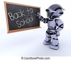 krijt, school, plank, robot, back