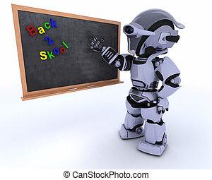 krijt, school, robot, plank
