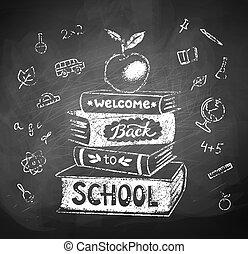 krijt, stapel, boekjes , appel, tekening