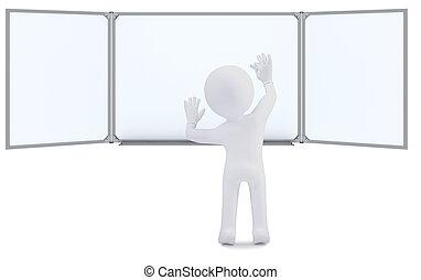 krijt, whiteboard, 3d, menselijk, schrijvende