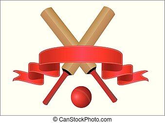 krikett, üt, tiszta, piros, transzparens, szöveg