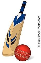 krikett labda, és, krikett üt