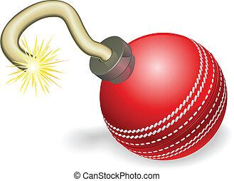 krikett labda, bombáz, fogalom