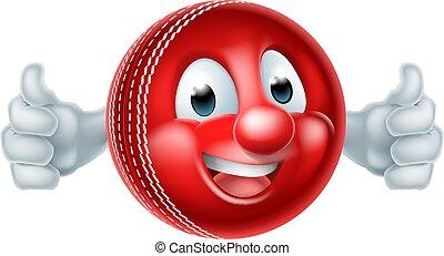 krikett labda, karikatúra, személy