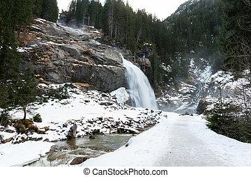 Krimml waterfall in winter