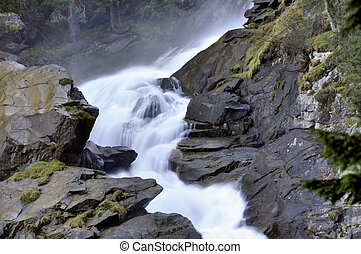 """Krimmler Wasserfaelle"", the highest waterfalls of europe in Krimml, Austria"