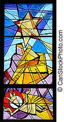 krippenspiel, glasmalerei
