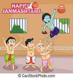 Krishna breaking dahi handi in Janmashtami background in...