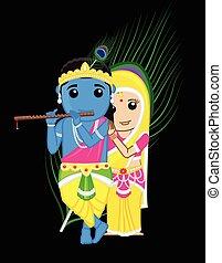 krishna, indiano, -, radha, dii
