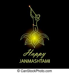 Krishna Janmashtami background. Greeting card for Krishna...