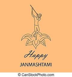 Krishna Janmashtami background. Greeting card for Krishna...