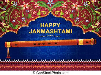 Krishna Janmashtami background in vector