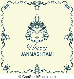 Krishna Janmashtami background in vector. Greeting card for...