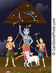 Krishna Janmashtami background - Krishna lifting mountain on...