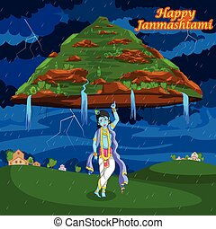 Krishna Janmashtami background - Krishna lifting mountain on...