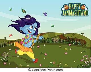 Krishna Janmashtami background - Krishna playing flute on...