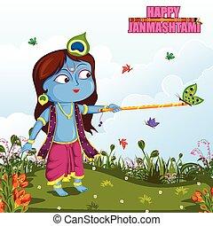 Krishna Janmashtami background - Krishna playing flute on...