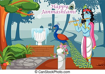 Krishna Janmashtami Background - Krishna playing flute with...
