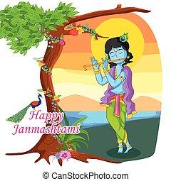 Krishna Janmashtami Background - Krishna playing flute with...