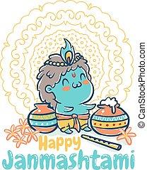 Krishna Janmashtami card - Vector illustration in kawaii...