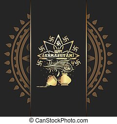 Krishna Janmashtami gold logo design on black background....