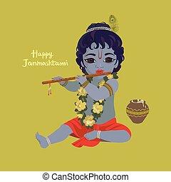 Krishna janmashtami greeting card. Dahi handi festival...
