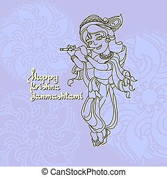 Krishna Janmashtami greeting card. Vector illustration.